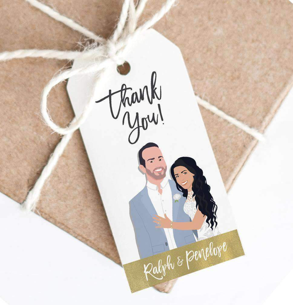 Favor tags are SUPER fun, especially when they have your portraits on them! These awesome Hanging Tags with Wedding Portrait from Miss