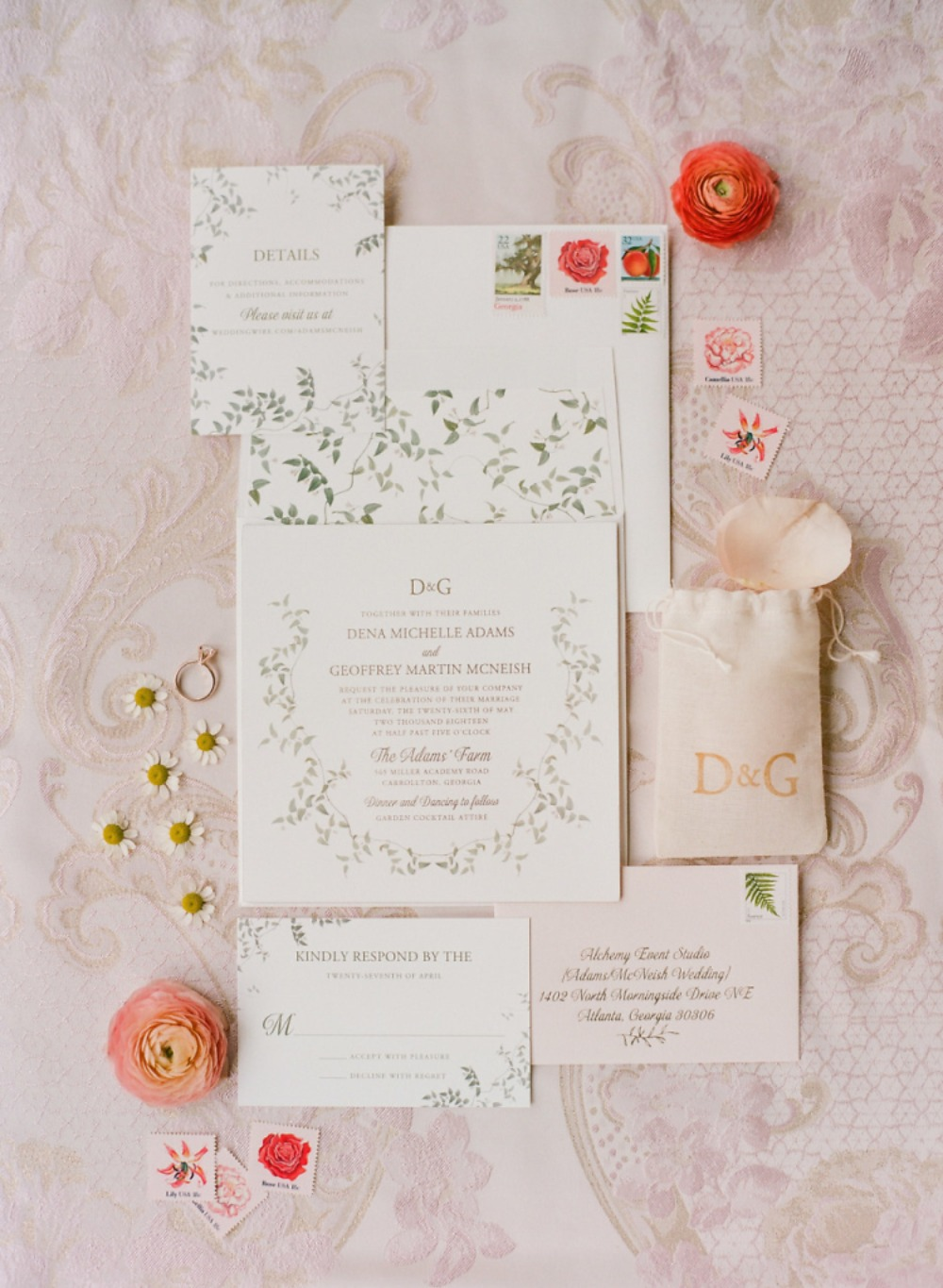 ivy themed wedding invitation suite