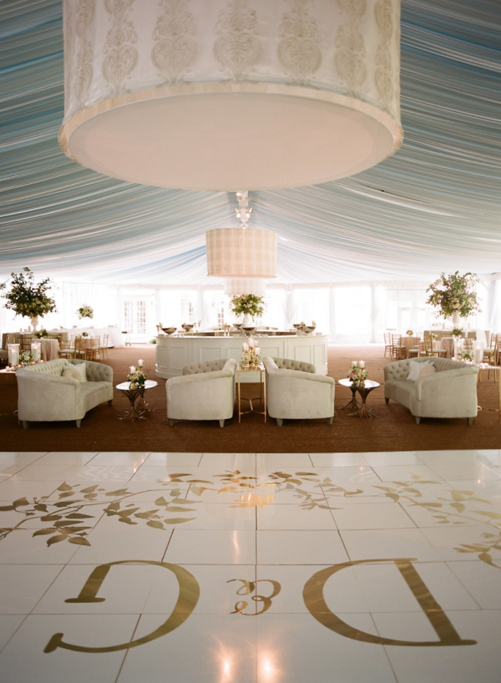 monogrammed dance floor and wedding lounge