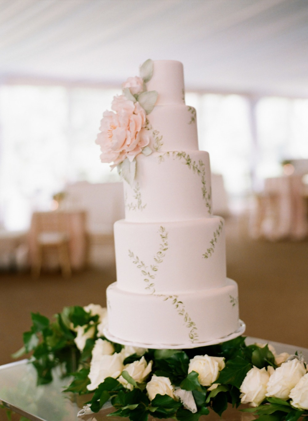 wedding cake with painted vines