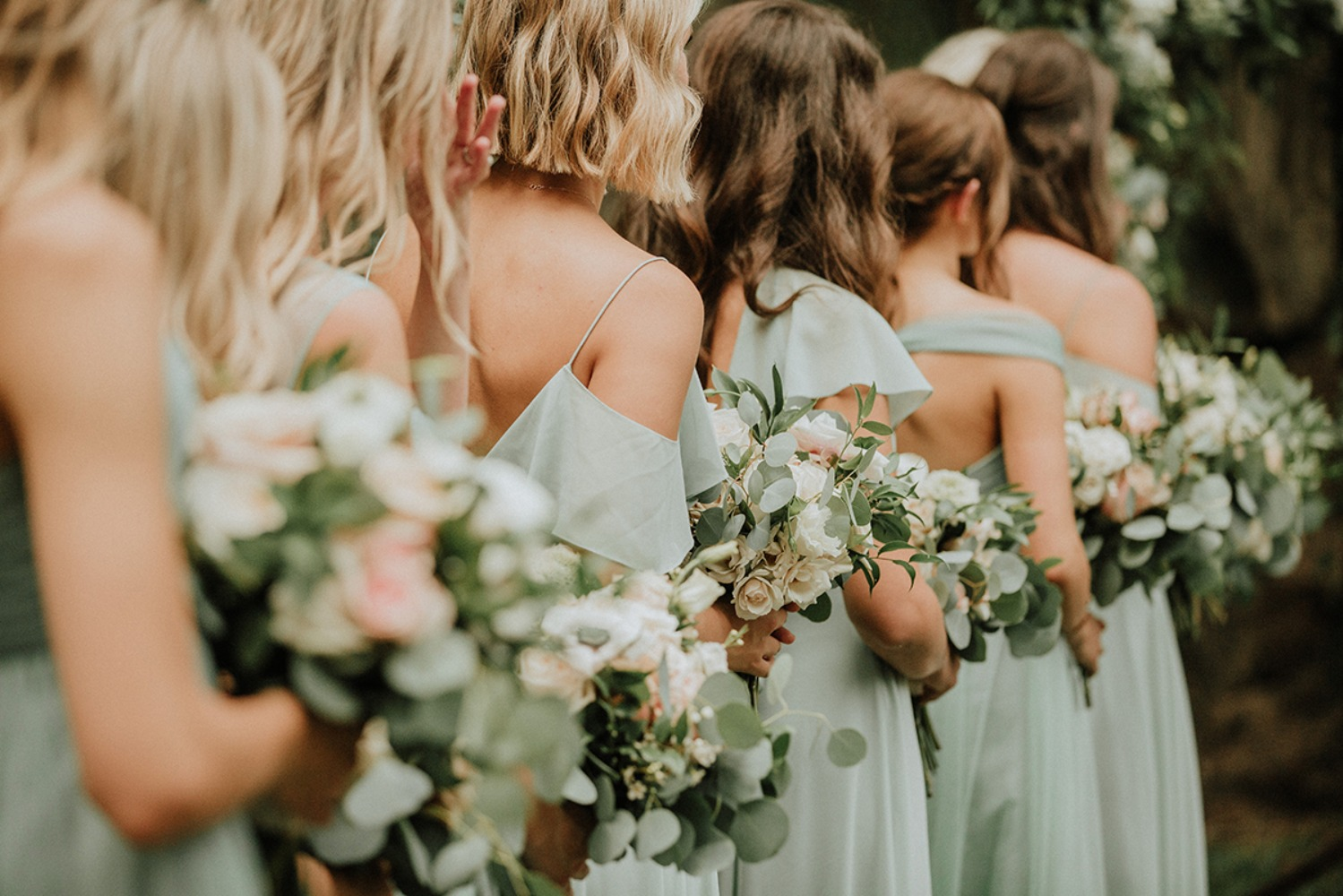 bridesmaids in sage green