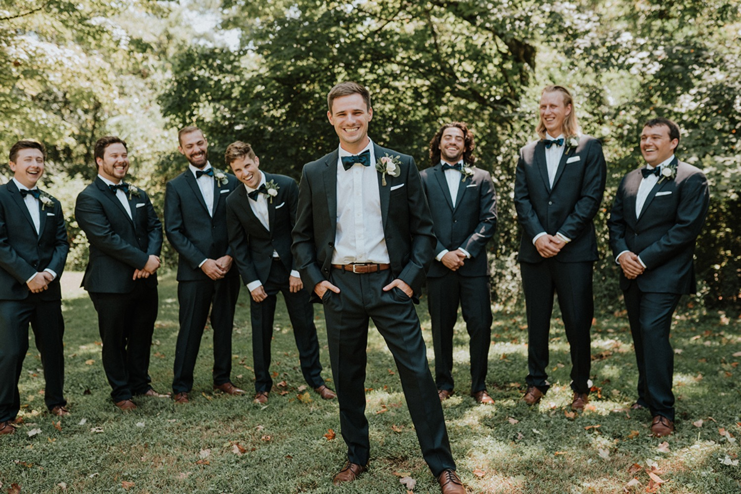 groom and his men looking dapper