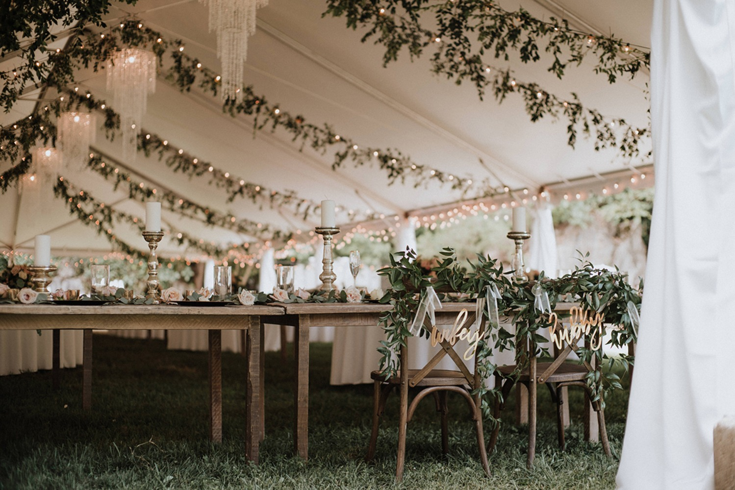 glamorous tented wedding reception