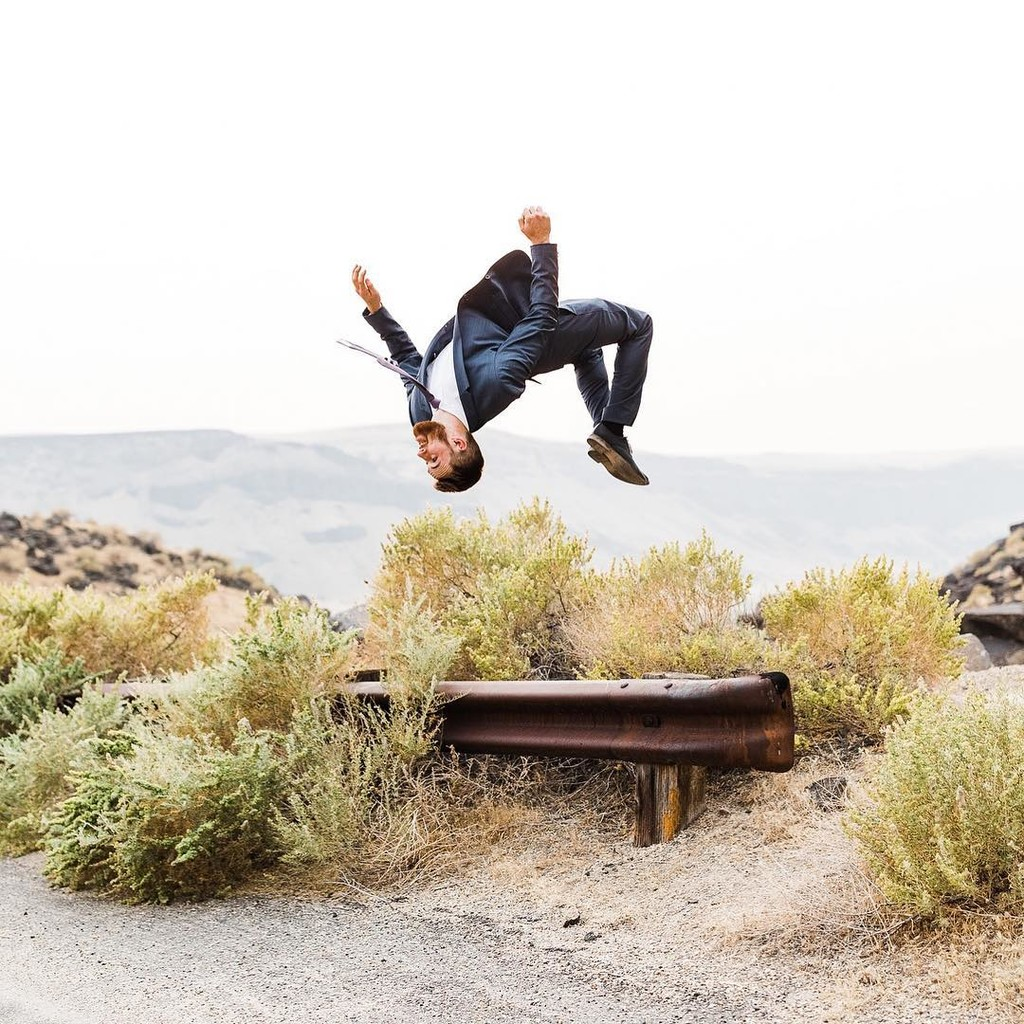 Every wedding needs a groomsman that can do a back flip.