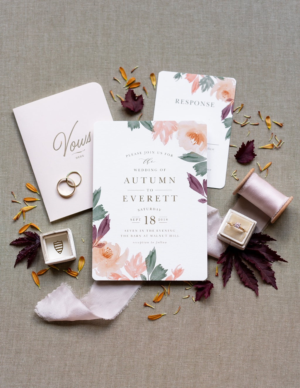 Our Water Rose Wedding Invitation Suite can be customized to fit any season!