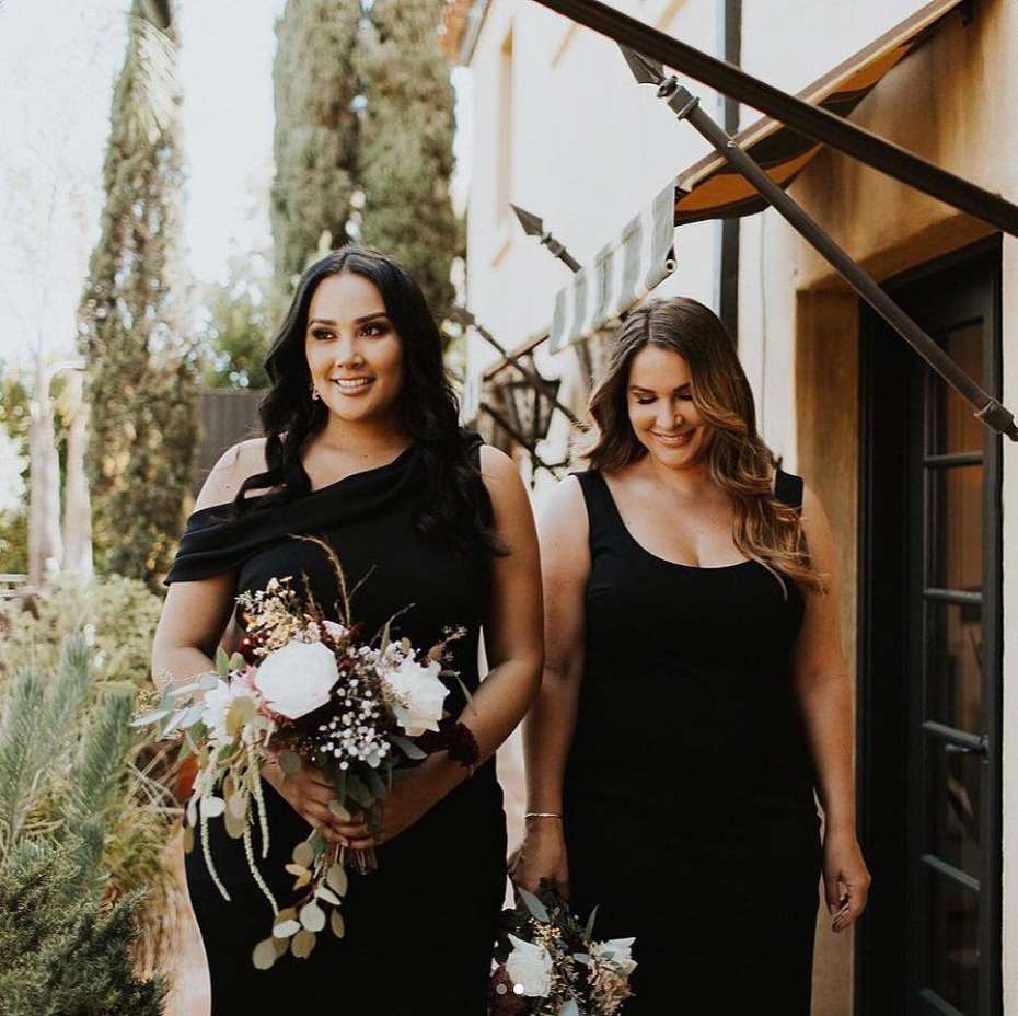 bridesmaids-in-black-dresses-from-bhldn