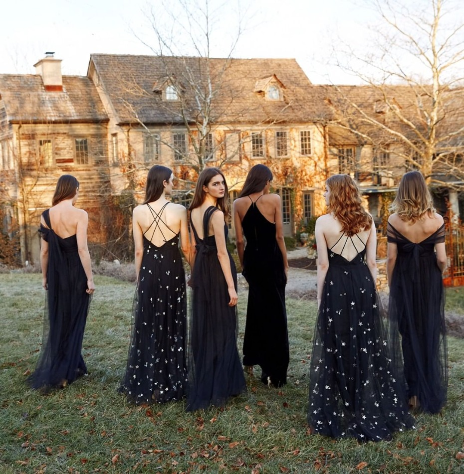 bridesmaids-in-black-tulle-gowns-from-jennyyoonyc