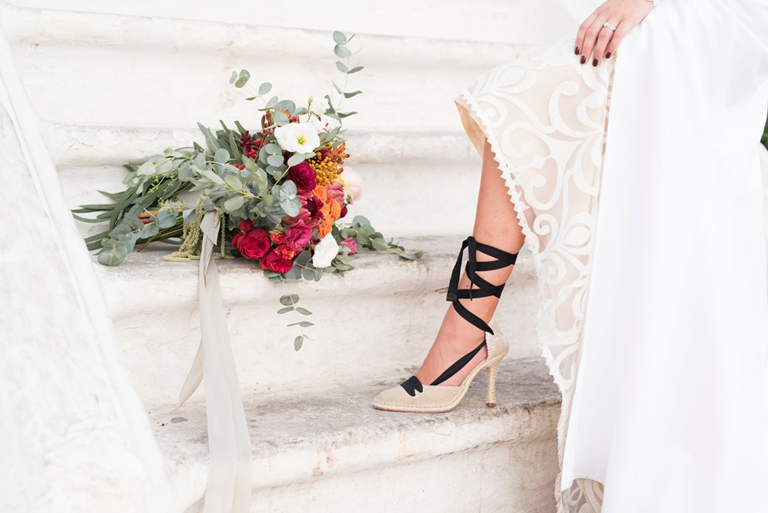black laceup wedding shoes