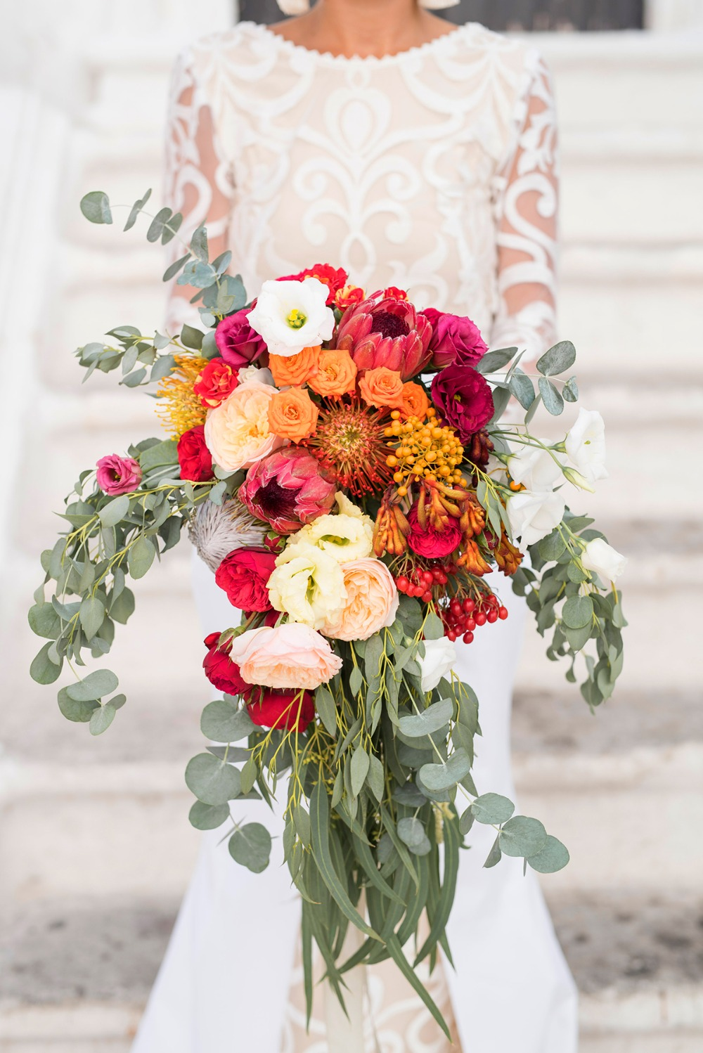pink orange and blush bouquet