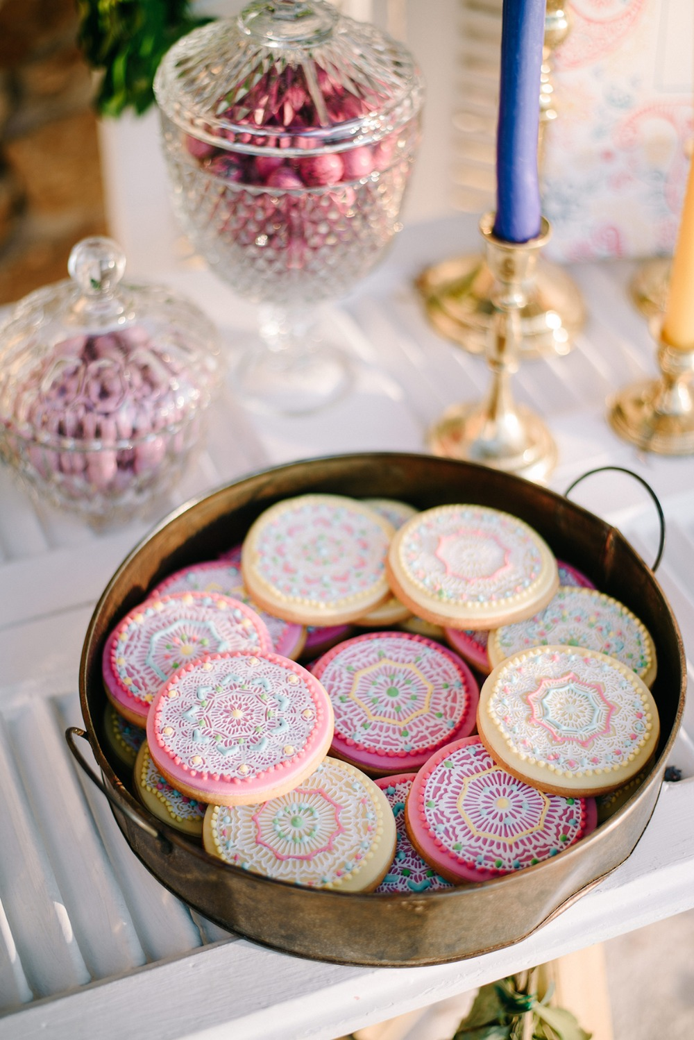 beautiful mandala wedding cookies