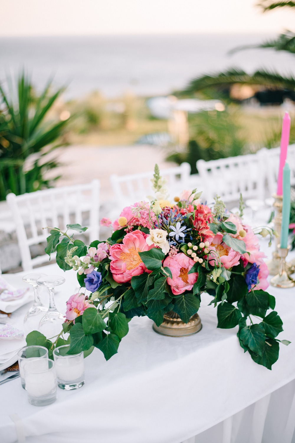 tropical floral wedding centerpiece