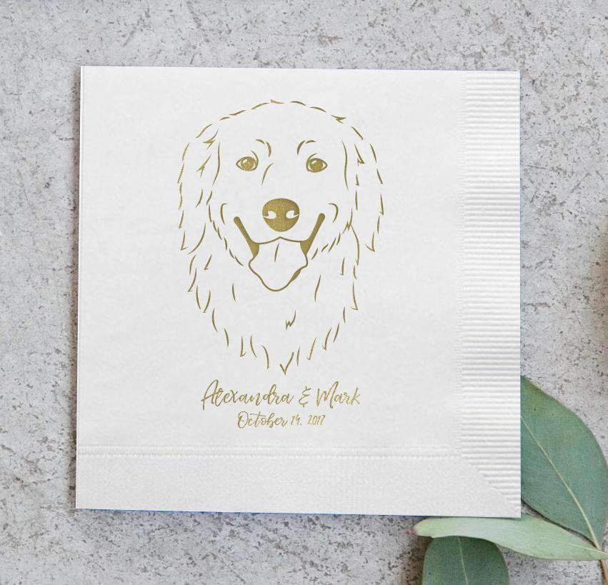 If you're looking to WOW your guests, these Pet Portrait Wedding Napkins with Foil from Miss Design Berry will do it!! Choose your