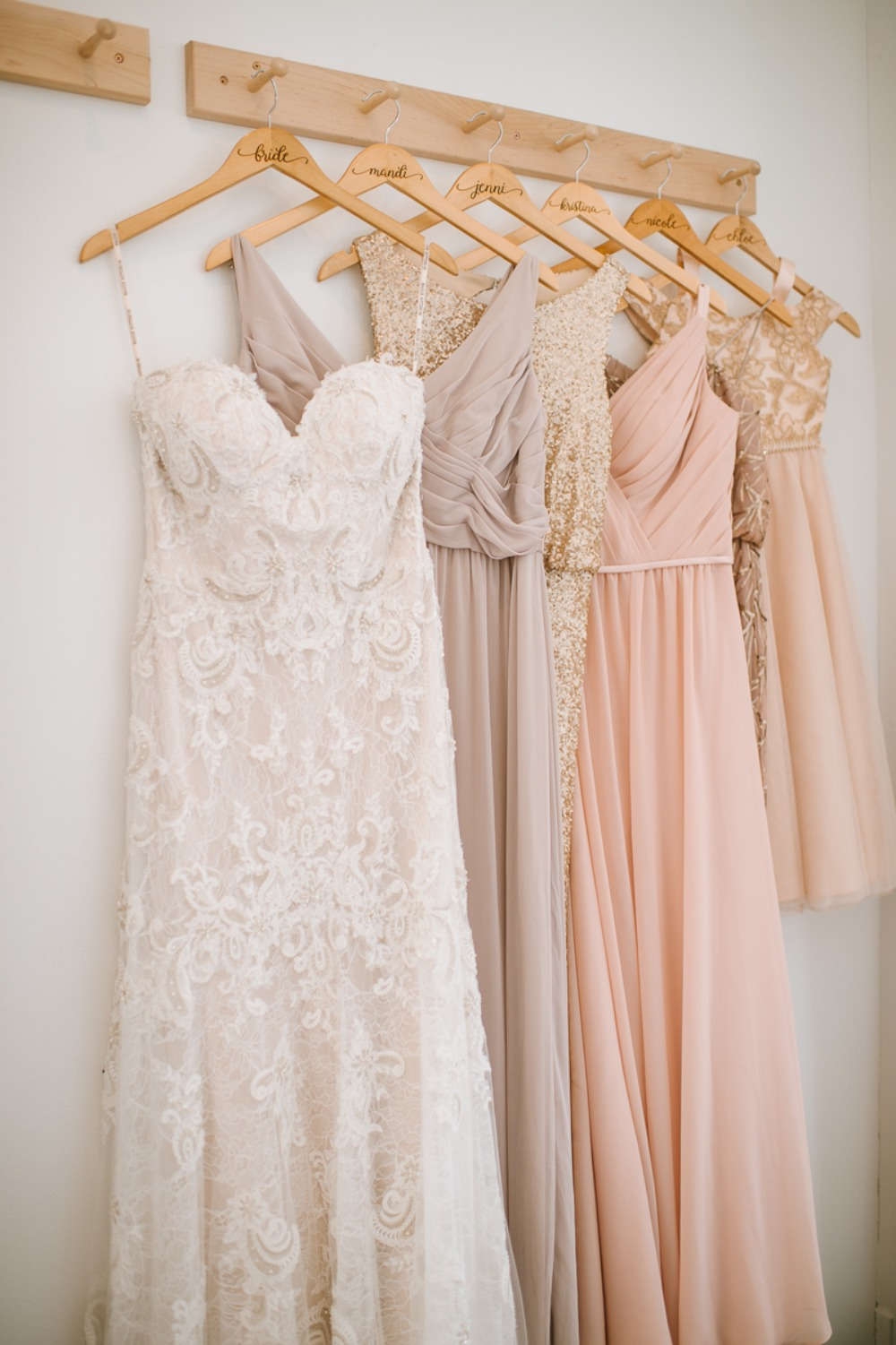 blush and gold dresses