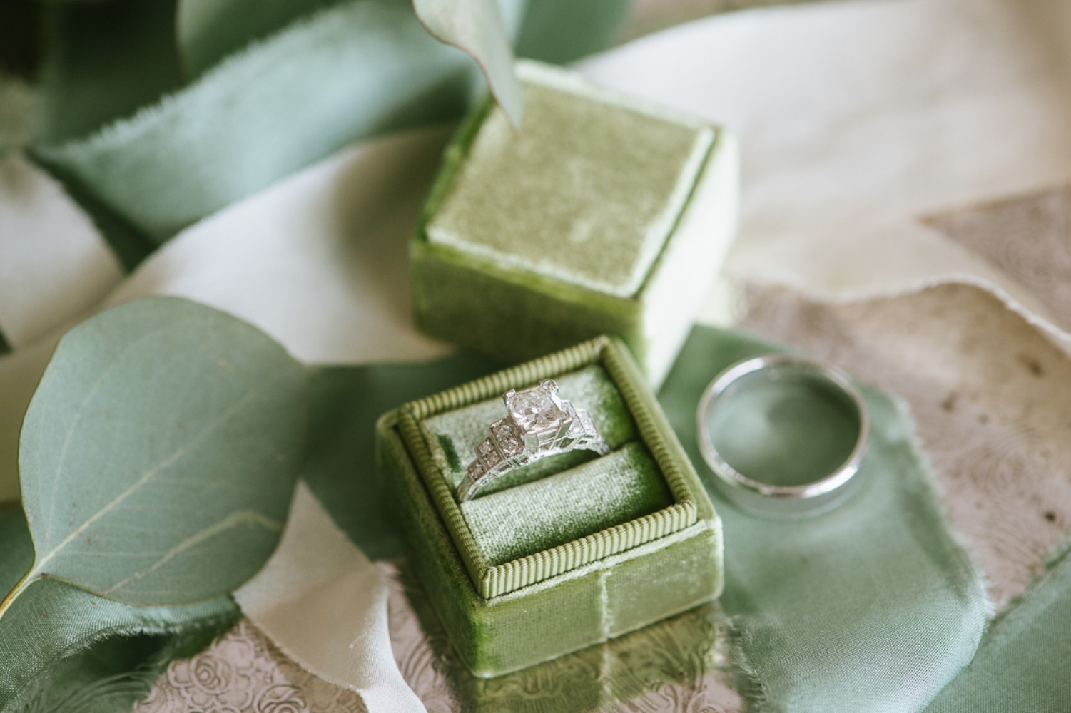 wedding rings and ring box
