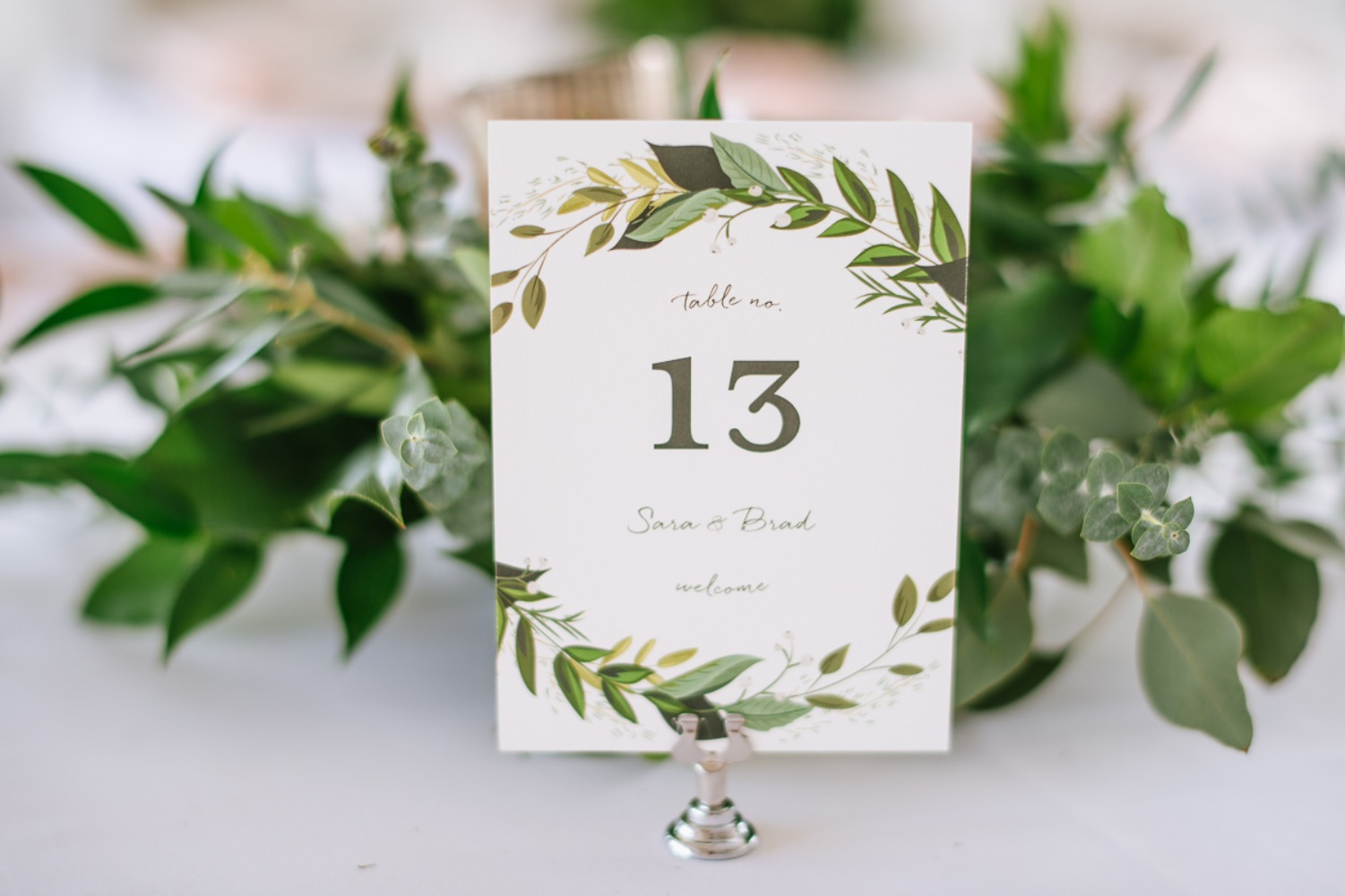greenery inspired wedding table number