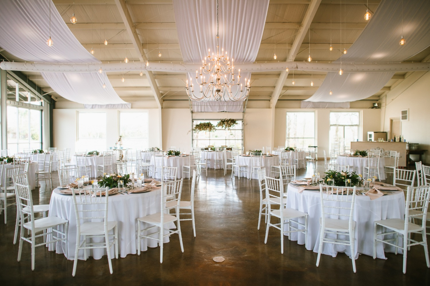 white and silver wedding reception
