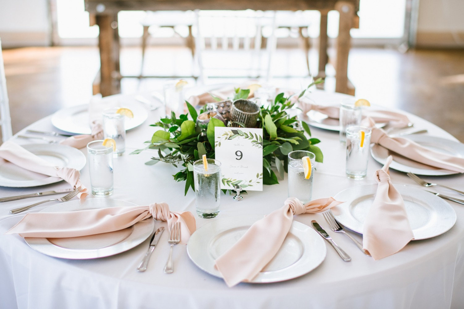 wedding table setting in blush and silver