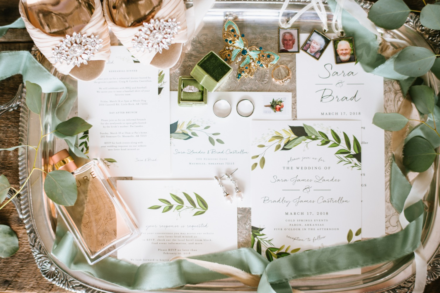 greenery inspired wedding stationery