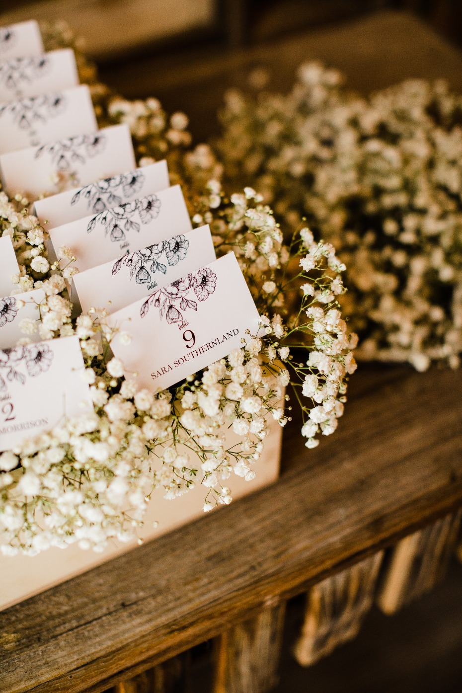 DIY Wedding Reception Details Place Cards on Baby's Breath