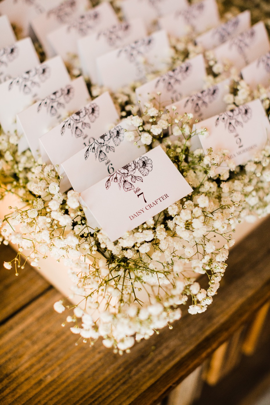 DIY Reception Details with Baby's Breath