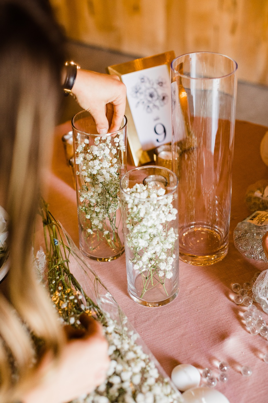 DIY wedding reception centerpieces baby's breath