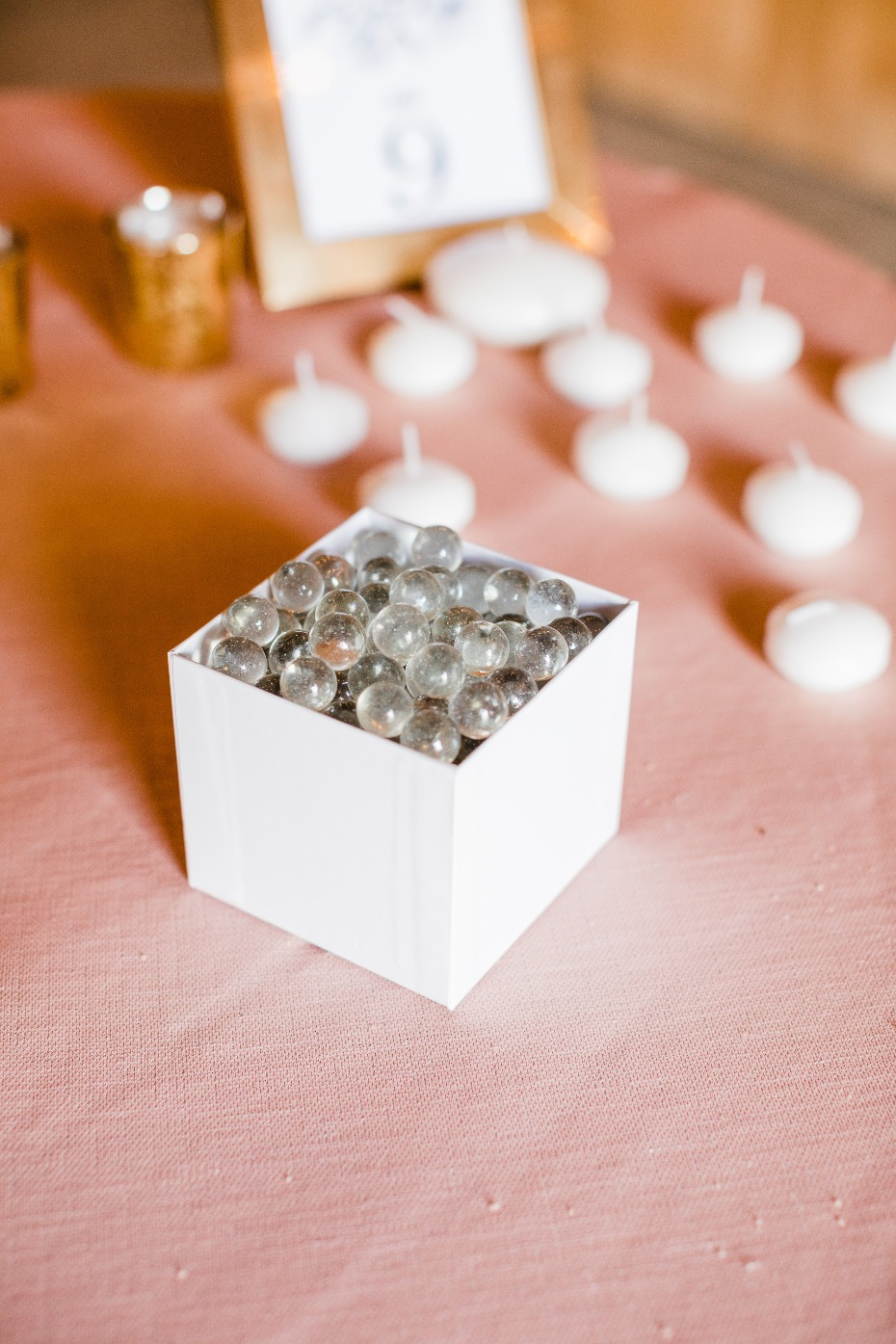 DIY Wedding Reception Centerpiece Clear Pebbles for Weight