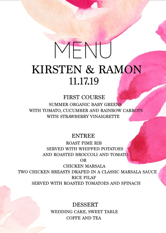 Print: Free Modern Printable Watercolor Wedding Menu