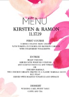 Free Modern Printable Watercolor Wedding Menu