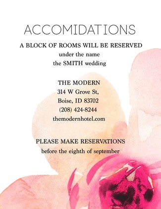 Free Modern Printable Watercolor Wedding Accomidations Card