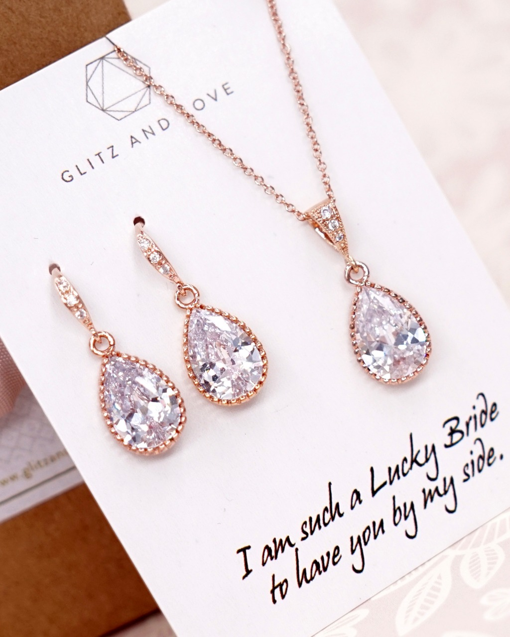 Rose Gold CZ Teardrop Jewelry Set - Welcome to Glitz & Love where you will find a collection of exquisite and intricately handcrafted