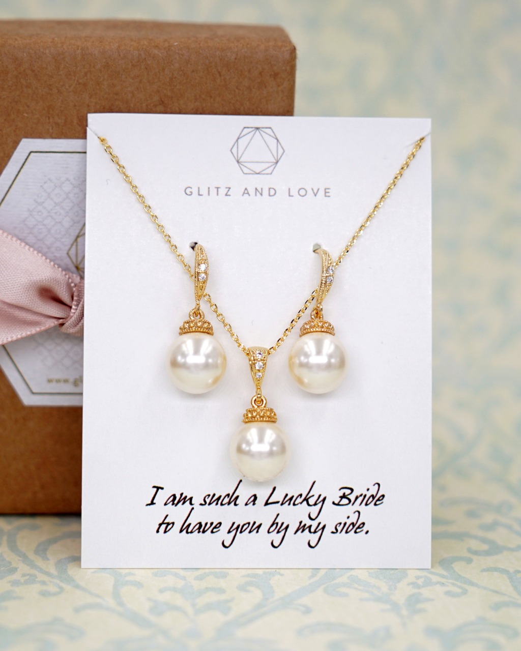 Gold Pearl Jewelry Set - Welcome to Glitz & Love where you will find a collection of exquisite and intricately handcrafted pieces