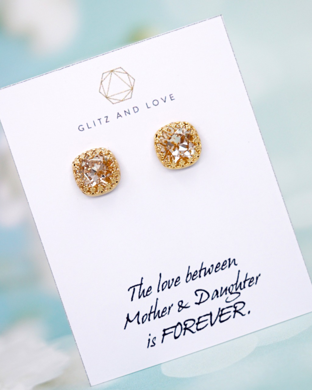 Light Silk Cushion Swarovski Ear Studs - Welcome to Glitz & Love where you will find a collection of exquisite and intricately