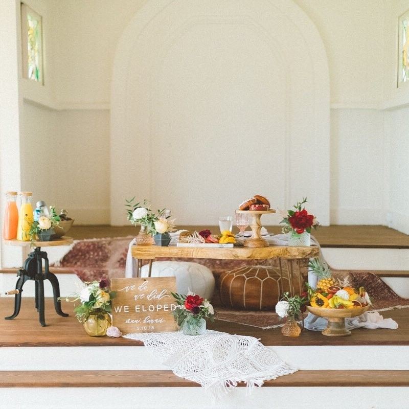 Breackfast for two. How sweet was this sunrise styled elopement , perfectly curated by