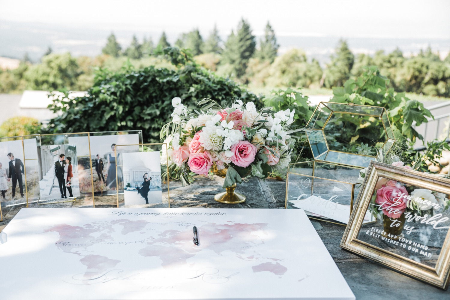 wedding welcome table and guest book world map