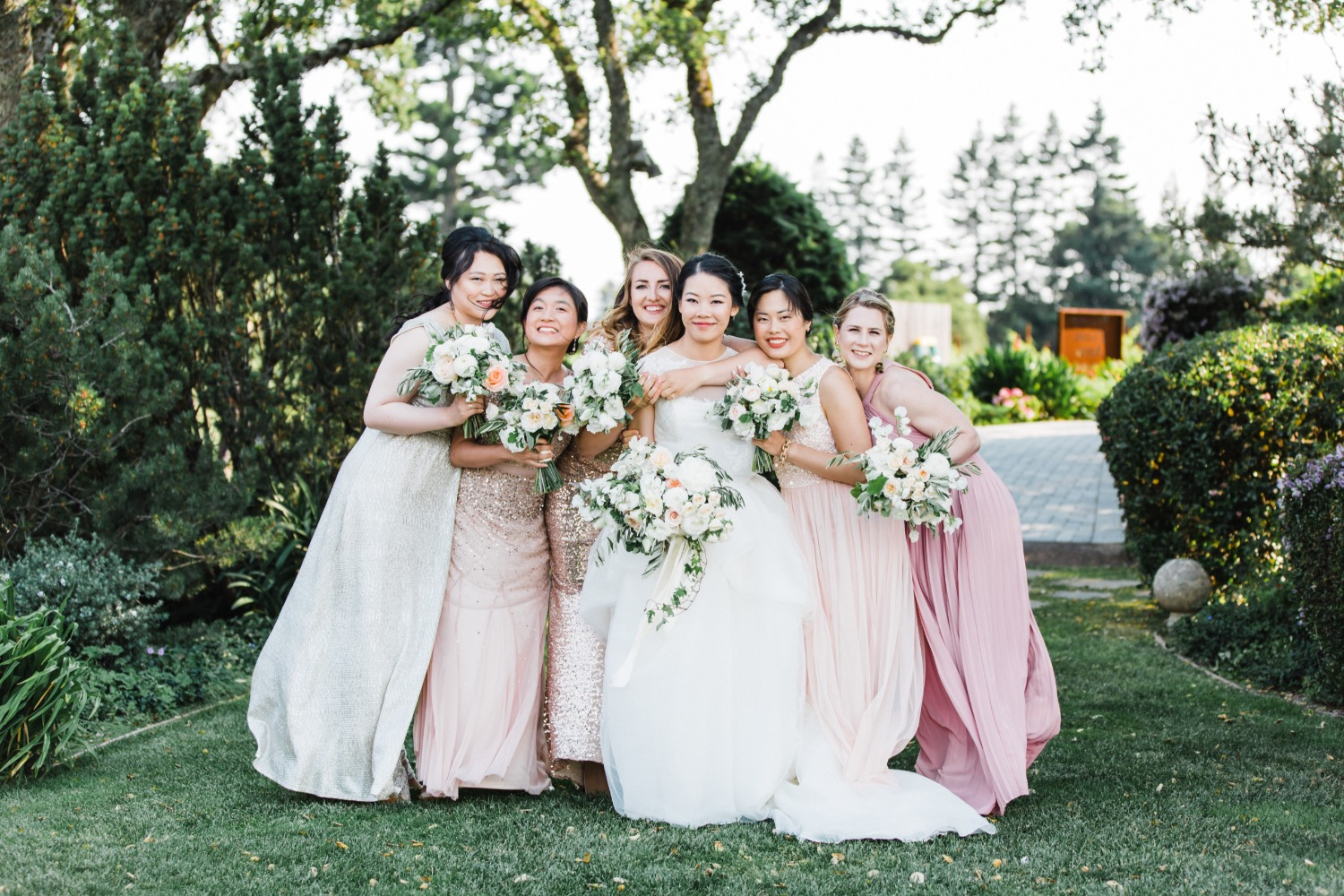 blush mismatched bridesmaids dresses