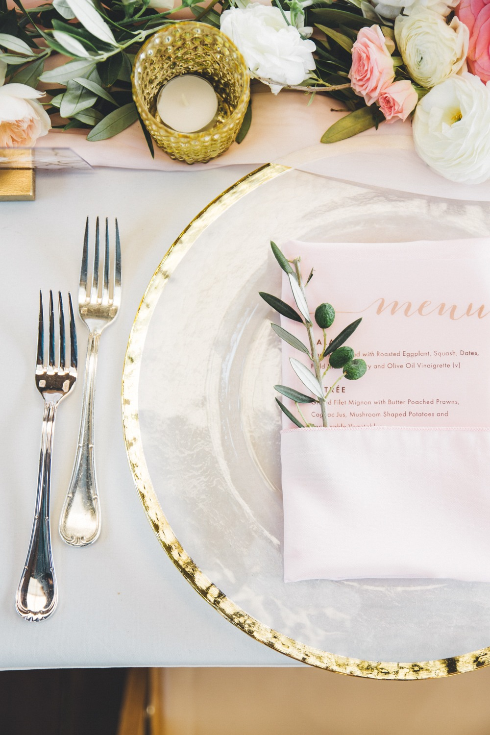 gold and blush wedding place setting