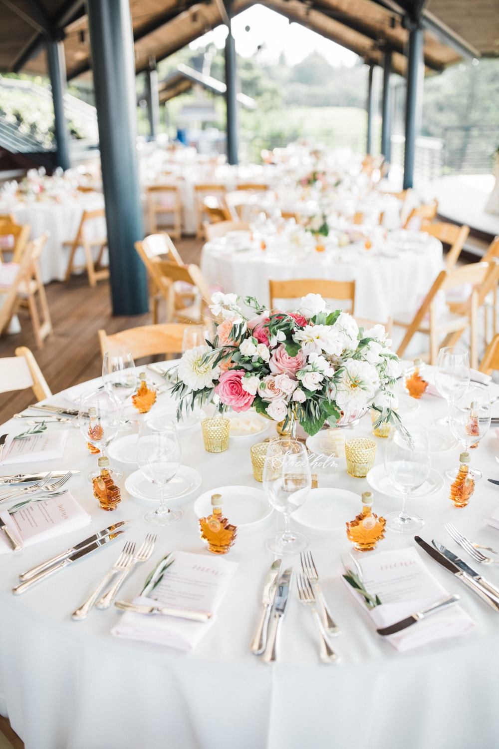gold and white wedding reception table