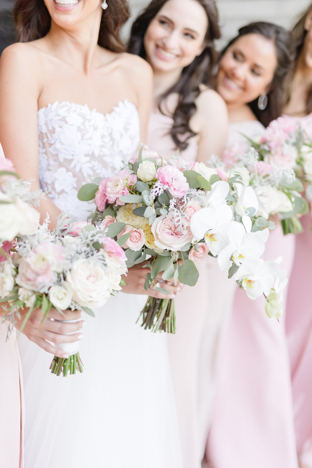 soft pink and white wedding bouquets