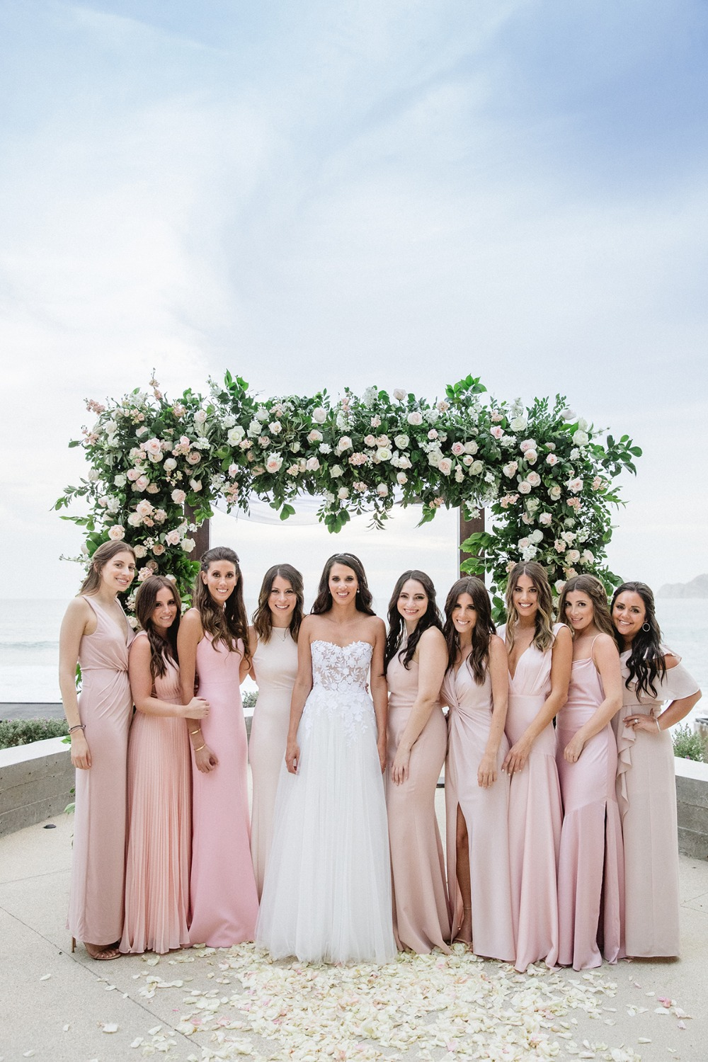 bridal party in soft pink