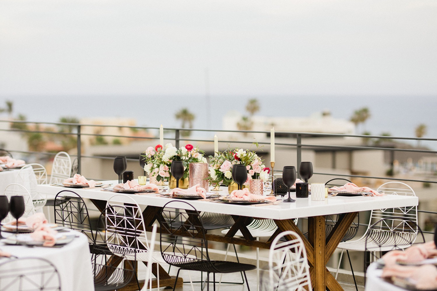 modern black and rose gold reception
