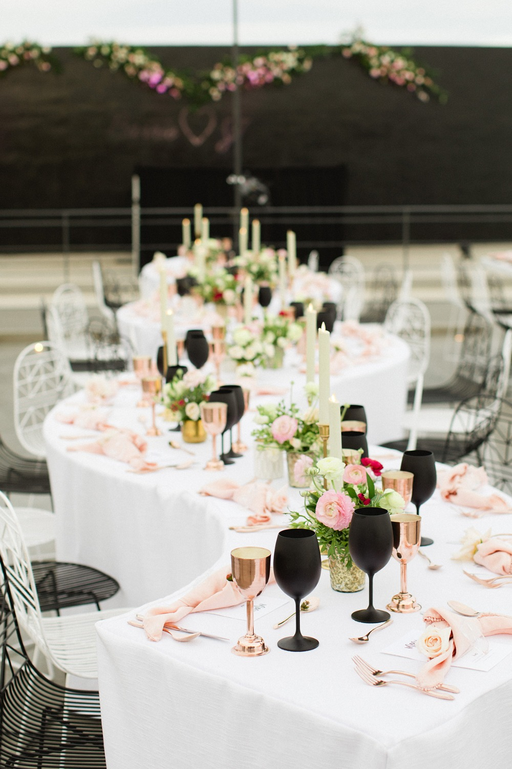 modern pink rose gold and matte black wedding decor