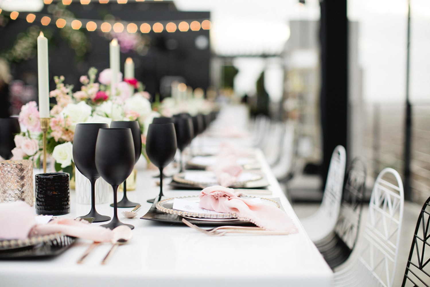matte black and pink wedding decor