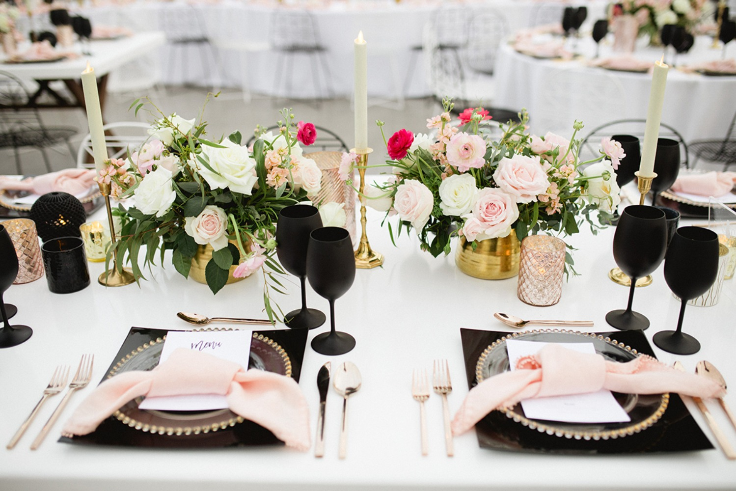 rose gold and black wedding place setting