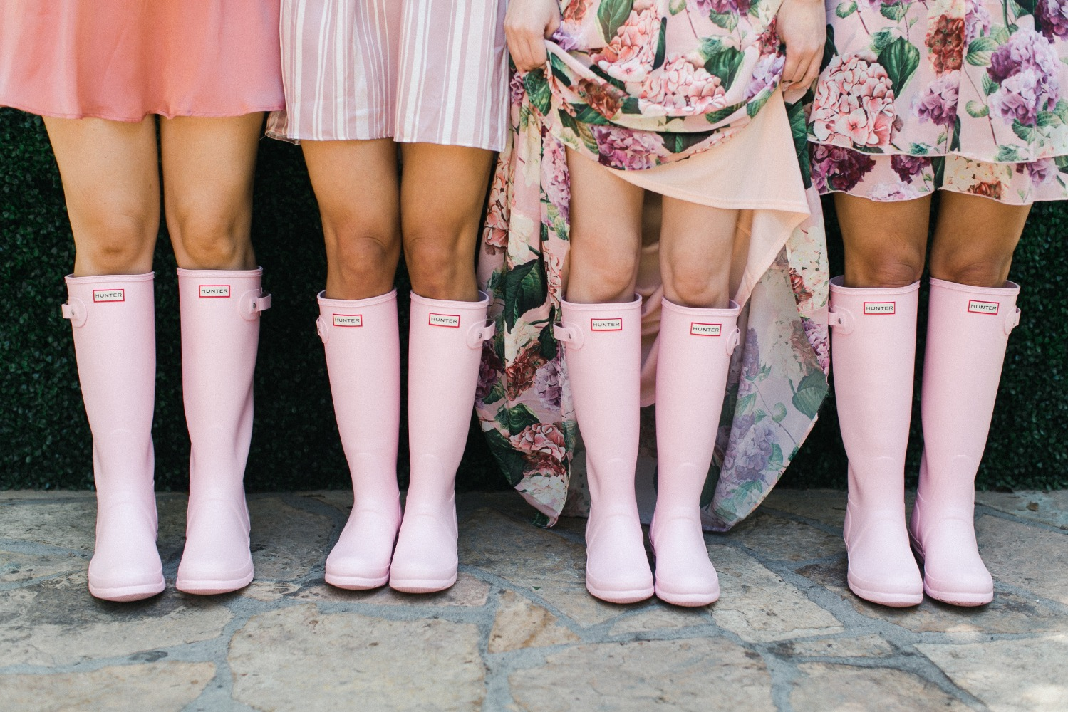 pink Hunter boots bridal shower