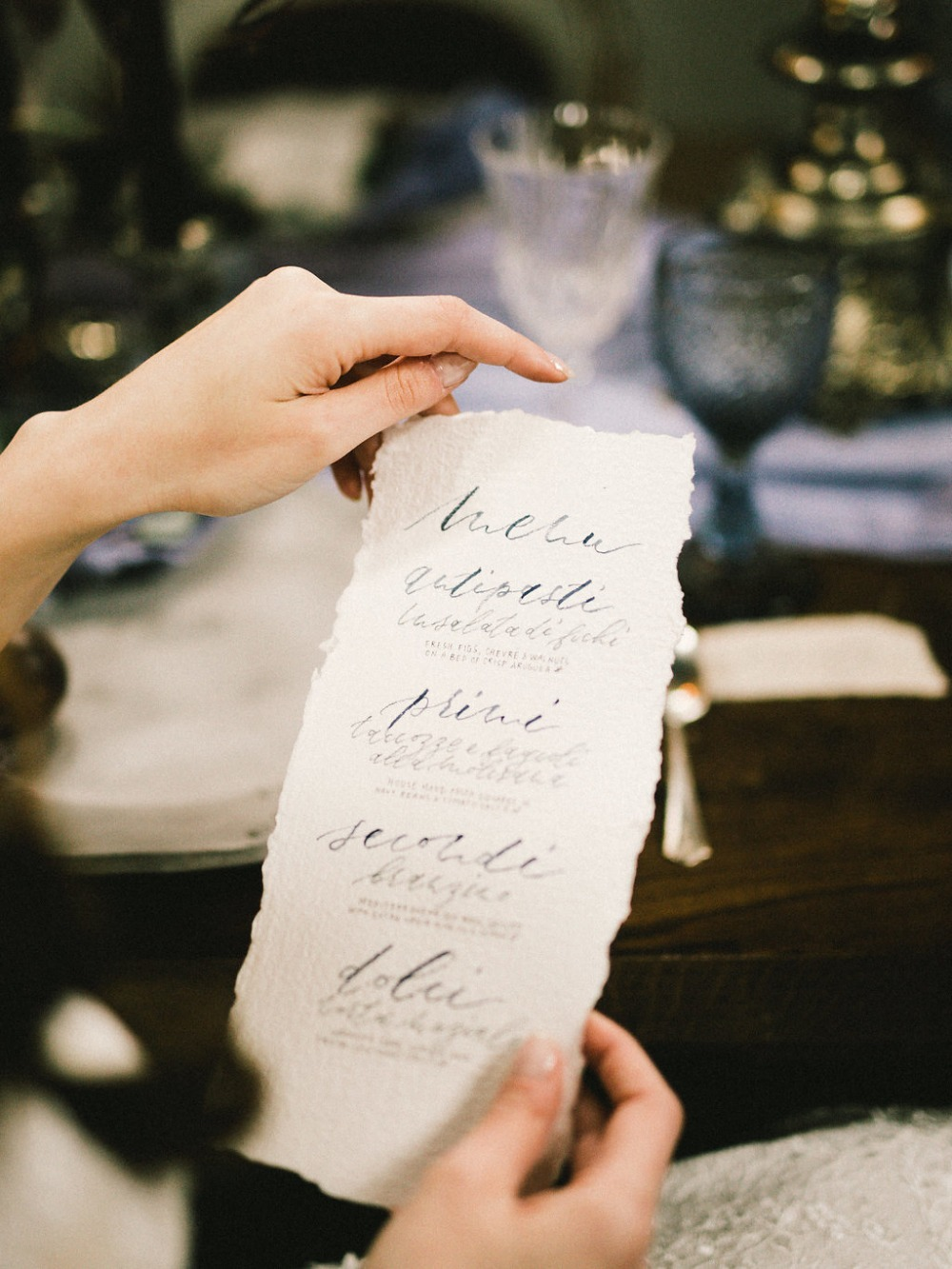 Calligraphy wedding menu design