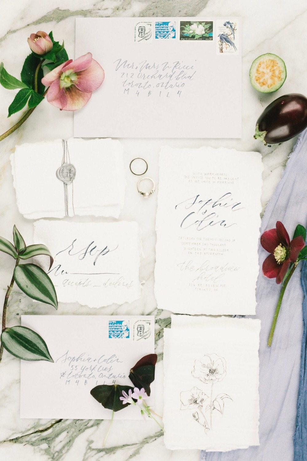 JMP Calligraphy wedding invitation suite