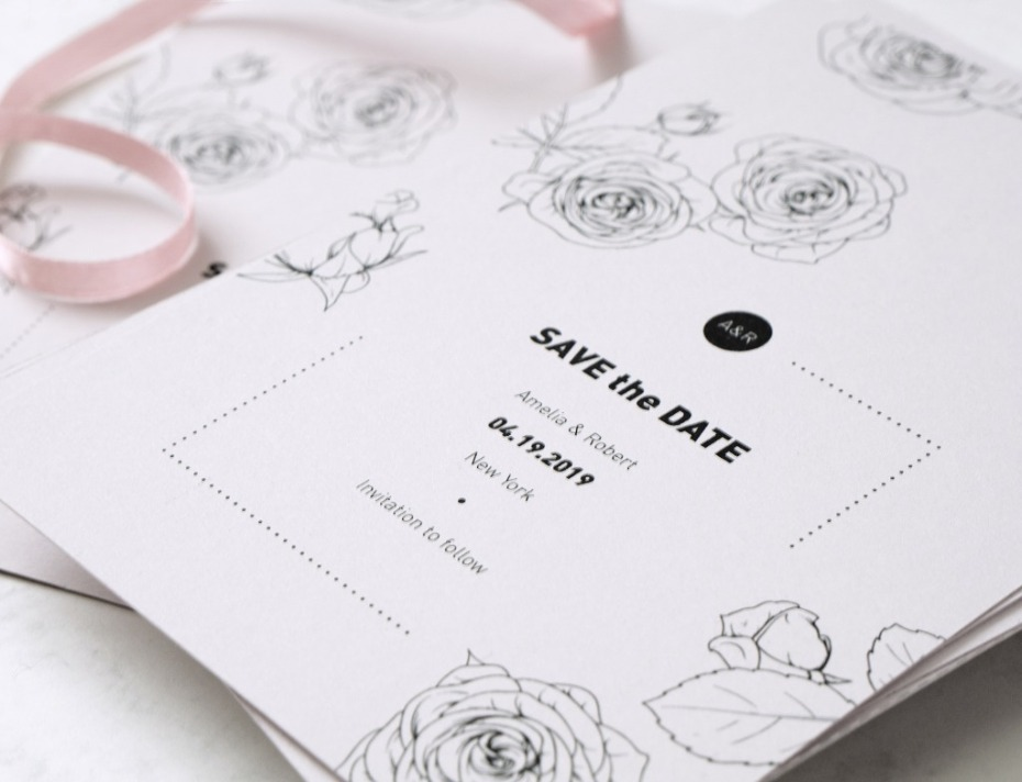 Save the date from Pink Blue Paperie