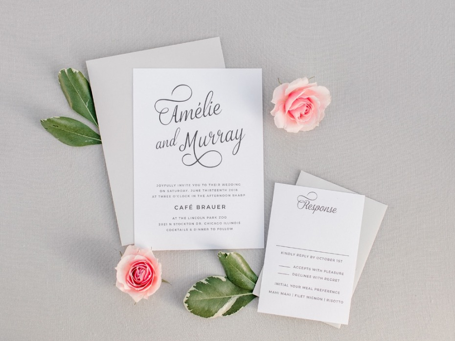 Grey and blush wedding invite and response card