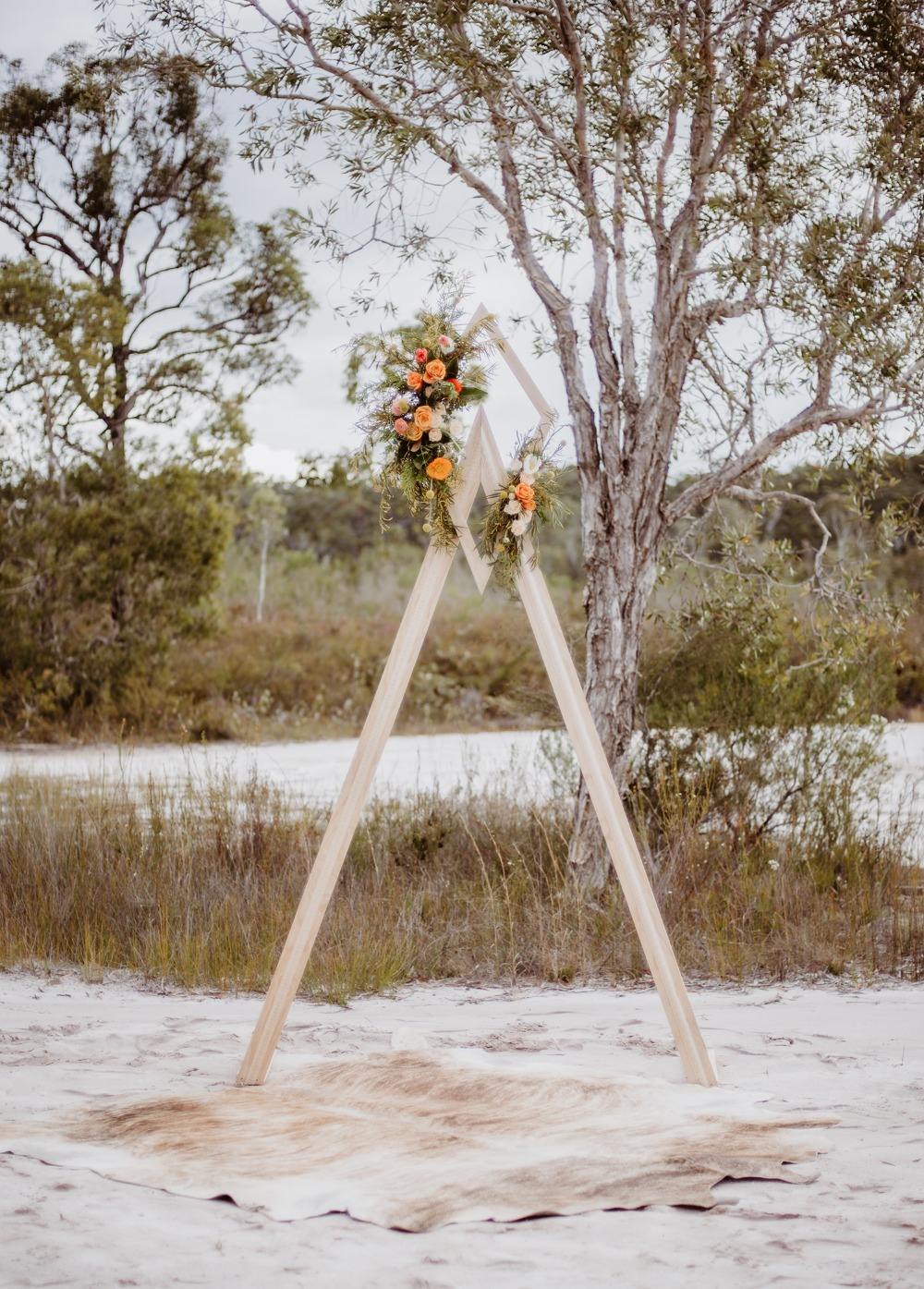 Geometric boho beach wedding