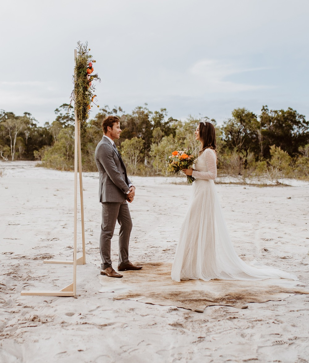 Modern boho beach wedding